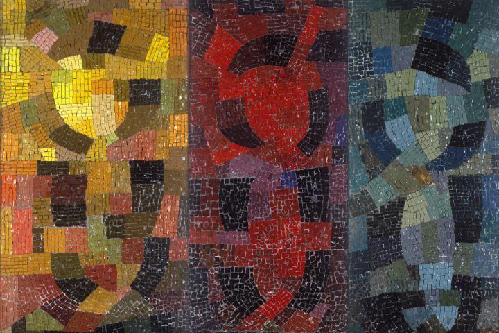 """Otto Freundlich Hommage aux peuples de couleur, 1938 175x 156,5 cm Mosaik Musées de Pontoise Foto: Donation Freundlich - Musées de Pontoise Im Museum Ludwig in der Ausstellung """"Otto Freundlich: Kosmischer Kommunismus"""""""