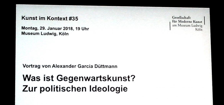 """Kunst im Kontext #35, """"Was ist Gegenwartskunst? Zur politischen Ideologie."""" Vortrag von Alexander García Düttmann im Filmforum NRW, Museum Ludwig Köln. Copyright Foto: Kulturklitsche.de"""